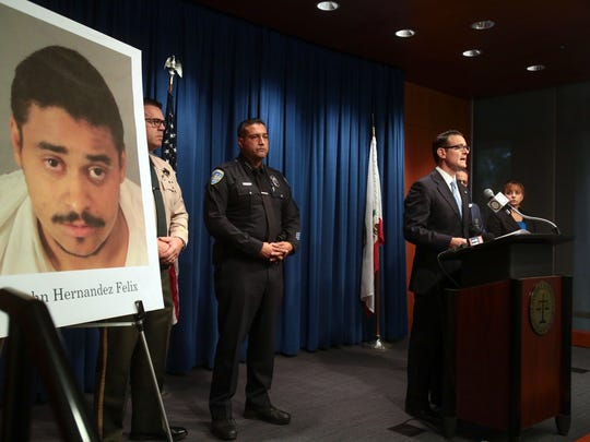 Riverside County district attorney Mike Hestrin charges John Felix with two count of first-degree murder for the killing of two Palm Springs police officers. Photo taken on Wednesday, October 12, 2016 at the Riverside District Attorney Office in Riverside, CA.