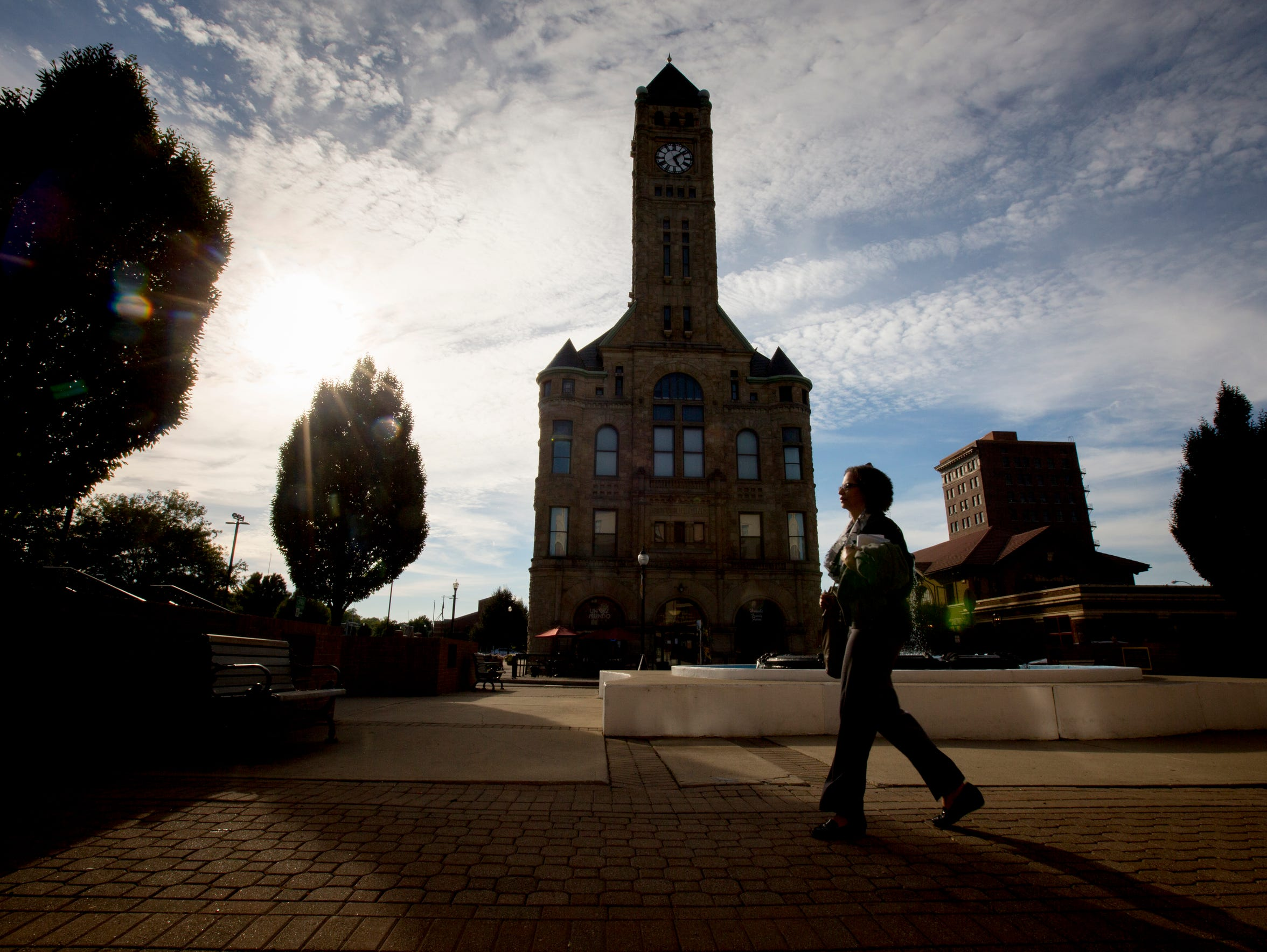 Pat Bray leaves work in downtown Springfield, Ohio.