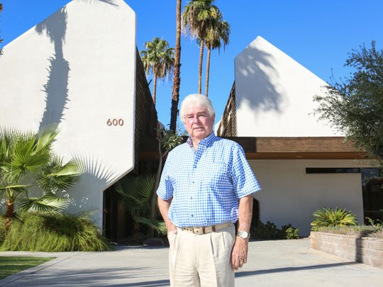 Architect Hugh Kaptur pictured at the building he designed at 600 Tahquitz Canyon Way in Palm Springs, October 11, 2016.