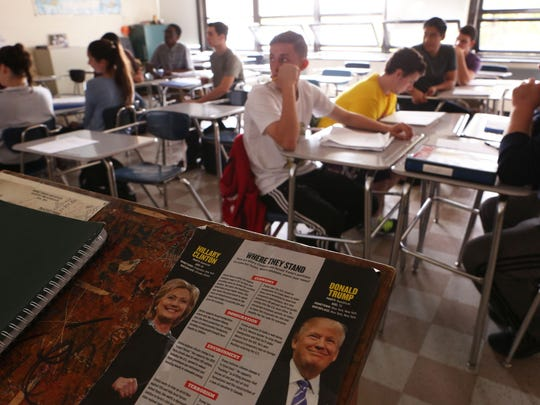 Social Studies teacher Dave Masterson leads a discussion the morning after the third presidential debate in an American Civics class at Nanuet High School Oct. 20, 2016.