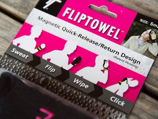 Attaching to the user's wrist, the FlipTowel allows the wearer to carry a sweat towel with them at all times, hands-free.