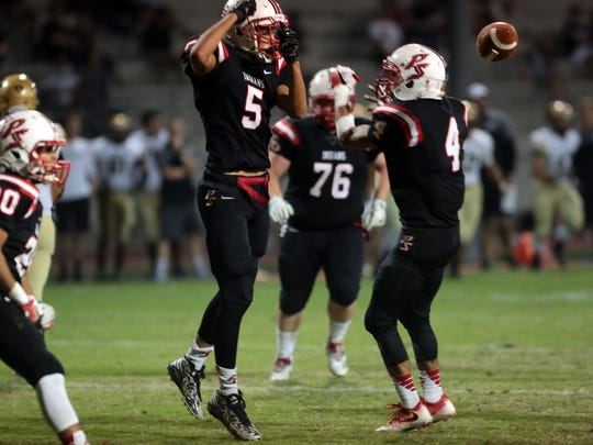 Palm Springs and Xavier College Prep football action on Friday, October 28, 2016 in Palm Springs.