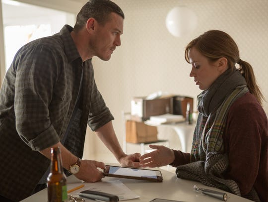 Luke Evans and Emily Blunt appear in a scene from DreamWorks