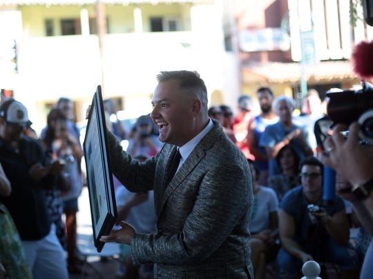 Ross Mathews receives a star on the Palm Springs Walk of Stars on November 5, 2016.