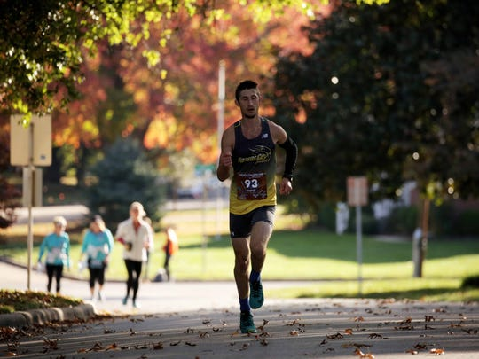 It was a sunny day for the Bass Pro Conservation Marathon Sunday, Nov. 6 2016. Shawn Etzenhouser, second near the 22 mile marker, ended up winning the marathon.
