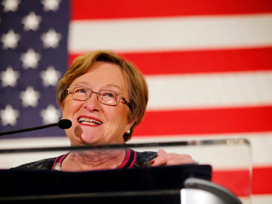 Patty Judge gives a concession speech at the Iowa Democratic Party's election night celebration Tuesday, Nov. 8, 2016.