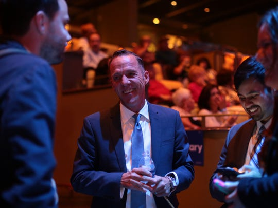 Assembly candidate Greg Rodriguez at a Democratic  election watch party at the Show at the Agua Caliente Casino Resort Spa in Rancho Mirage on Tuesday, November 8, 2016.