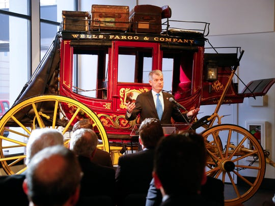 Wells Fargo CEO Tim Sloan speaks at the opening of