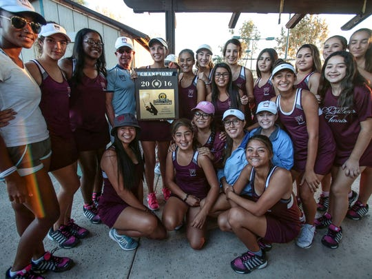 Rancho Mirage Girls Tennis are  CIF Southern Section Division 5 Champions after beating Hemet in Claremont on Friday, November 11, 2016.