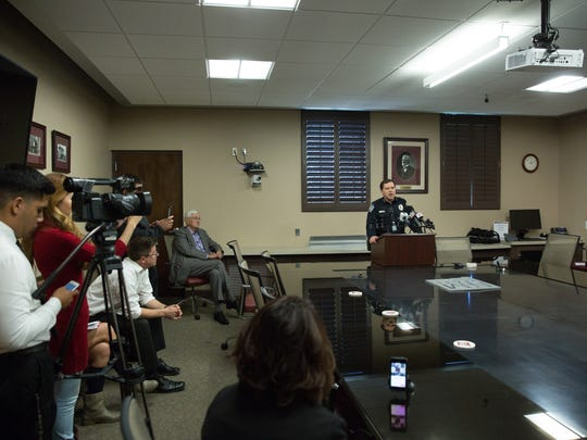 New Mexico State University Police Chief Steve Lopez gives some details about an early morning officer involved shooting Tuesday November 15, 2016.