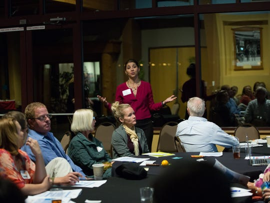 Pamela Blackwell, with New Mexico First, leads a group discussion about education in Las Crucses, with participants made up of Teachers, Parents, State and local officals, during the Every Student Succeeds Act town hall at the Farm and Ranch Museum, Tuesday November 15, 2016.