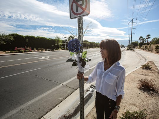 Terry Stralser near the spot where her father was hit and killed by a car at the intersection of Landau Boulevard and McCallum Way in 2014. Stralser places flowers there on the anniversary of his death. Photo taken on Wednesday, November 16, 2016 in Cathedral City.