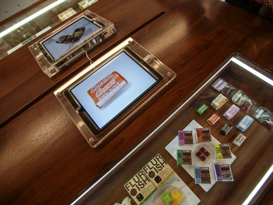 Tablet computers give provide information on the edibles at the MedMen marijuana dispensary on Santa Monica Boulevard in West Hollywood. Photo taken on Tuesday, November 15, 2016.