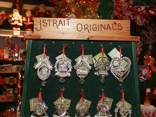 Ornaments from local artist Jim Strait of J. Strait