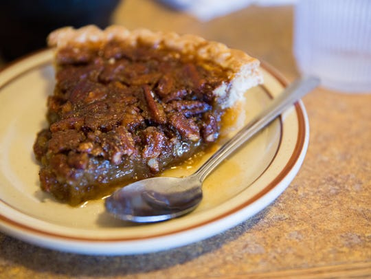 A piece of  pecan pie made by ¡Andeles! restaurant