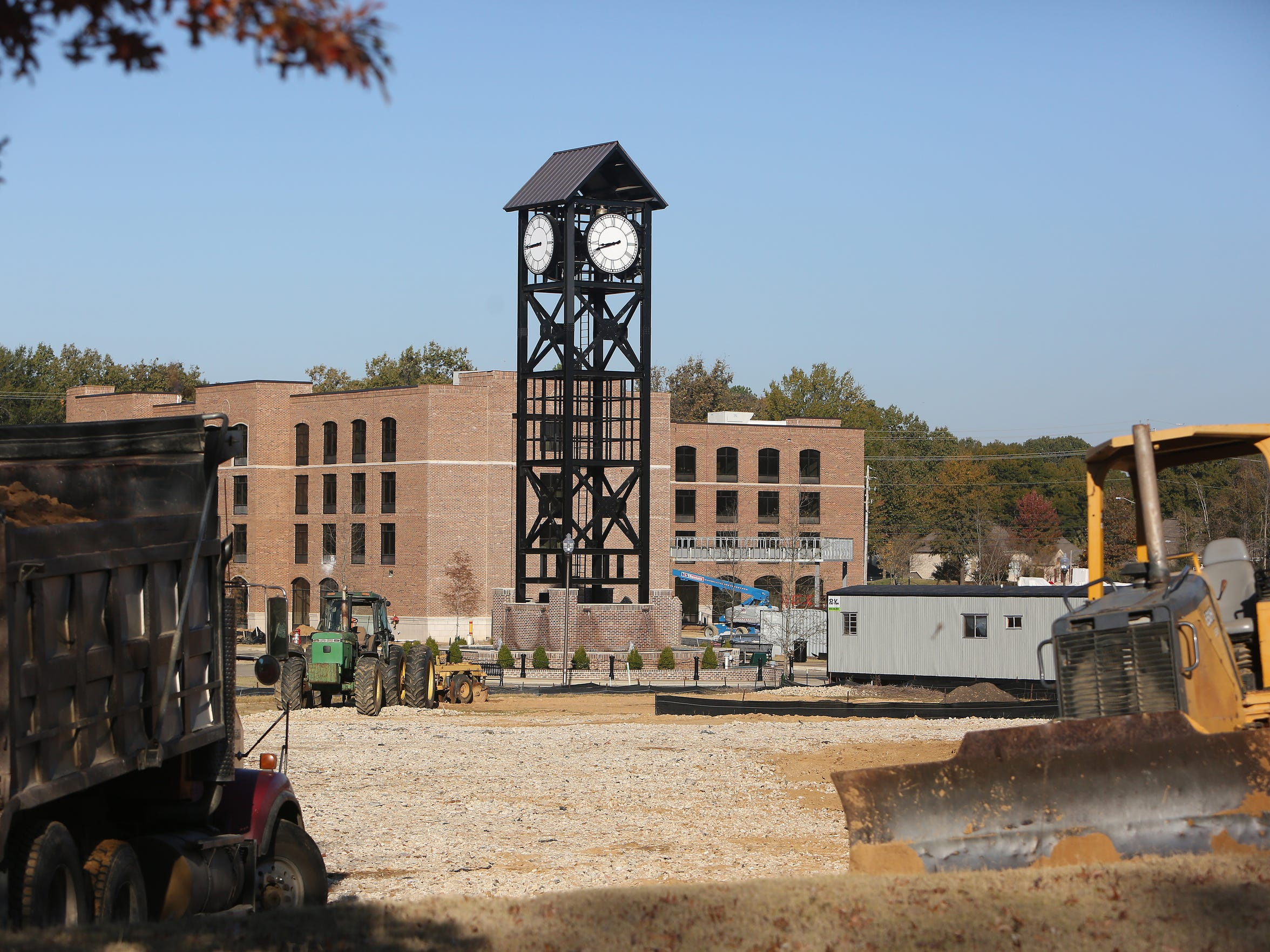 November 15, 2016 - A prominent clock tower stands center stage of the Thronwood construction site located on Germantown Parkway.