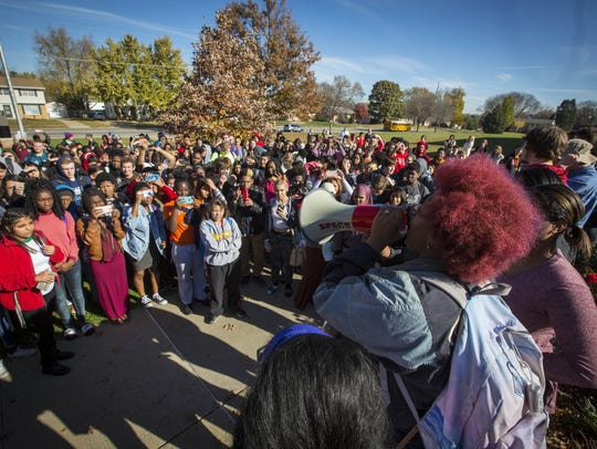 Hoover High School students in Des Moines walkout of school in November 2017 to protest the election of Donald Trump.