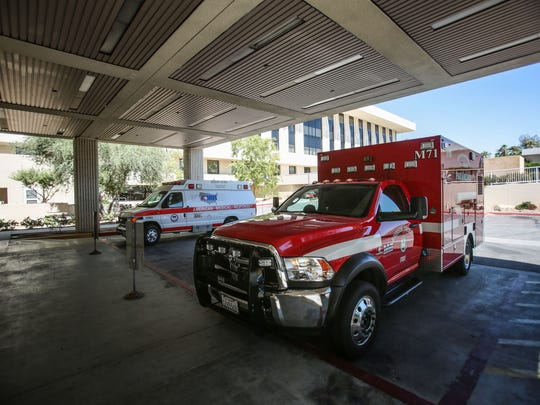 The ambulance entrance at Eisenhower Medical Center in Rancho Mirage on July 25, 2016.