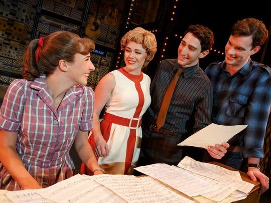 "Songwriters Carole King, Cynthia Weil, Barry Mann and Gerry Goffin in ""Beautiful: The Carole King Musical."" (L to R) Julia Knitel (""Carole King""), Erika Olson (""Cynthia Weil""), Ben Fankhauser (""Barry Mann"") and Liam Tobin (""Gerry Goffin"")."