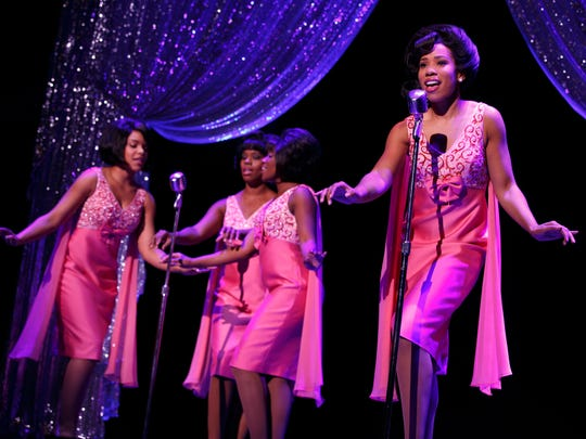 "The Shirelles in ""Beautiful: The Carole King Musical."" (L to R) Traci Elaine Lee, Rebecca E. Covington, Rosharra Francis and Salisha Thomas."