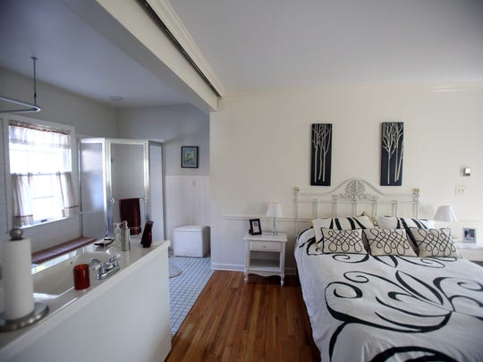 This is a view of the master bedroom and bathroom at