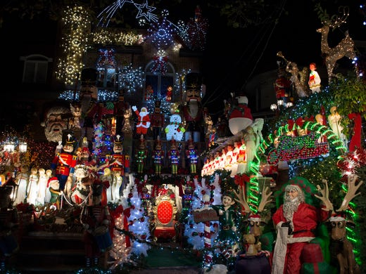 lucy spata began decorating her house with over the top - Over The Top Christmas Decorations