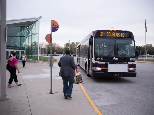 A DART bus picks up passengers in the Des Moines area. The DART Commission is weighing a proposal to lobby the state for the ability to increase the maximum property tax rate it can levy on metro homeowners.