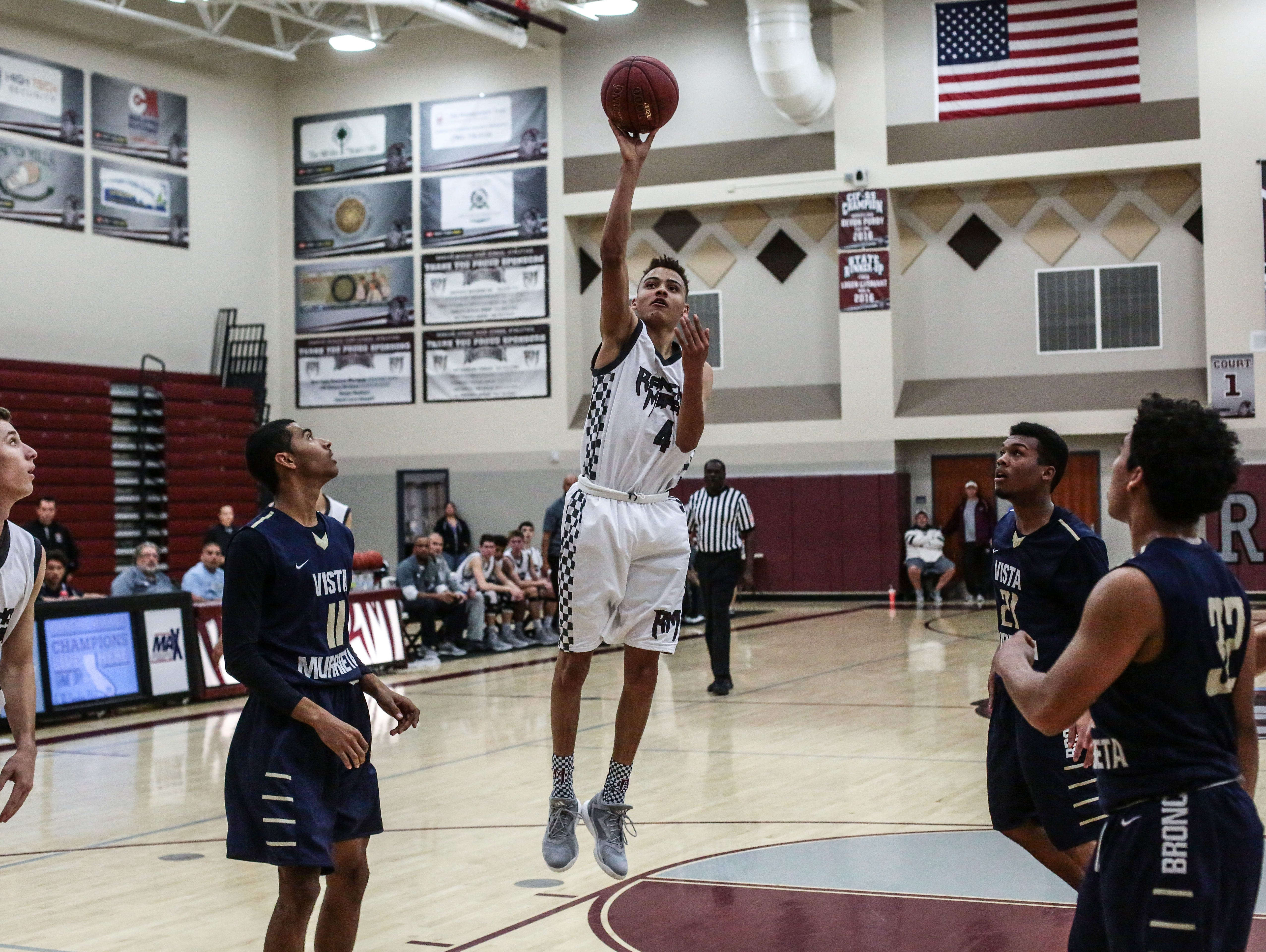 Rancho Mirage's Charles Neal shoots and scores against Vista Murrieta on Saturday, December 10, 2016 during the finals at the Showdown in the Snakepit in Rancho Mirage.