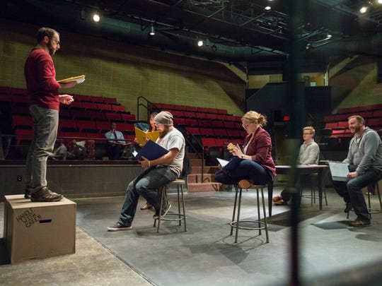 """Scott Siepker, left, and the cast of the play """"No Coast"""" rehearsing at Viking Theater at Grand View Friday Dec. 9, 2016, in Des Moines.Two guys whose witty utterances we cover more than almost anybody else's in Iowa, Raygun's Mike Draper and Scott """"Iowa Nice Guy"""" Siepker, are collaborating for the first time. They've produced """"No Coast"""" for the theater. What makes these Midwesterners tick?"""
