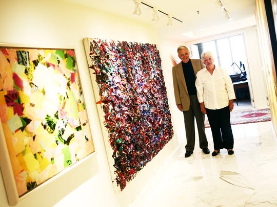 Charlotte and Paul Corddry with some pieces from their personal art collection in their home in Naples on Wednesday, Nov. 4, 2015. The couple donated 50 works from their art collection to The Baker Museum.