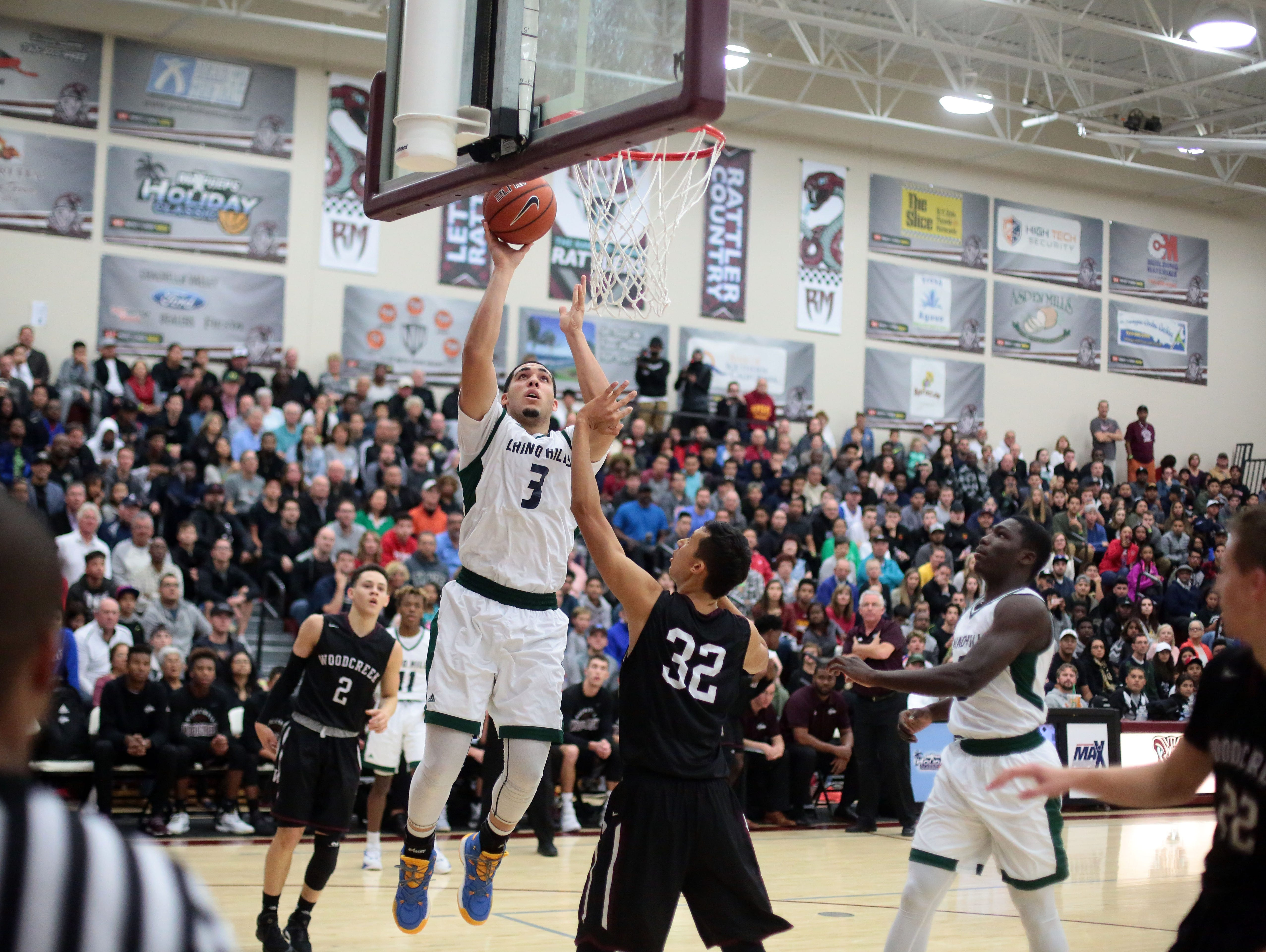 Chino Hills' LiAngelo Ball in action against Woodcreek on Wednesday, December 28, 2016 during the Rancho Mirage Holiday Invitational at Rancho Mirage High School.
