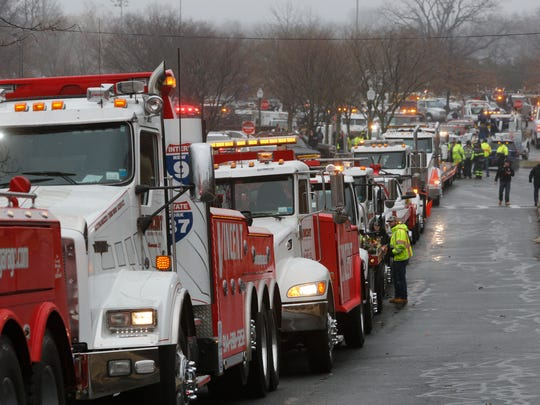 Hundreds of tow truck drivers gathered at Harbor Island