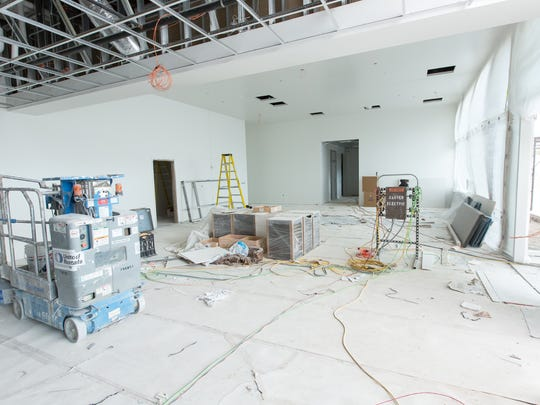 Pictured is the shared police and fire public lobby on Thursday January 5, 2017. Many parts of the building are still under construction.