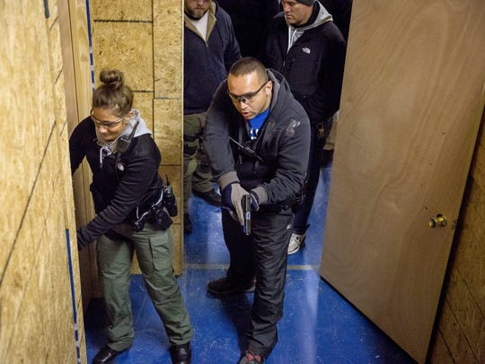 Yorktown Police Officers conduct training at the Muncie