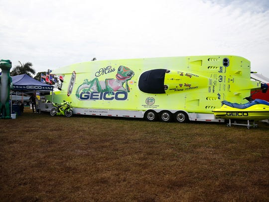 The 8-time championship Geico-sponsored speed boat is displayed Thursday, Jan. 21, 2016 at the Naples Municipal Airport.