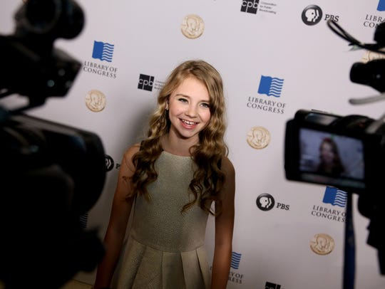 Tegan Marie, 13, on the red carpet at DAR Constitution
