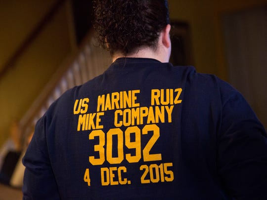 The family had t-shirts made up for Austin's graduation from basic training. Austin Ruiz was killed Friday, Jan. 13, 2017 during a Marine training exercise in Twentynine Palms, California.