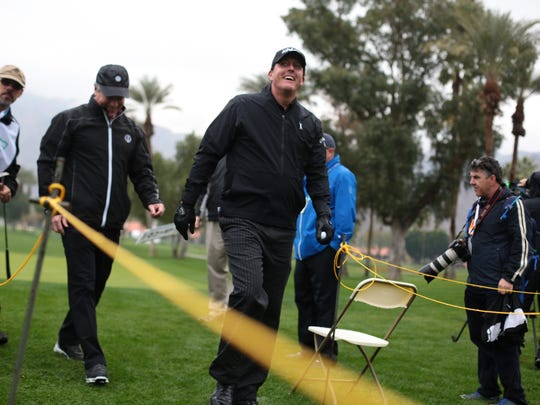Phil Mickelson smiles at the crowd on 1 at La Quinta Country Club during the 1st round of the CareerBuilder Challenge on Thursday, January 19, 2017.