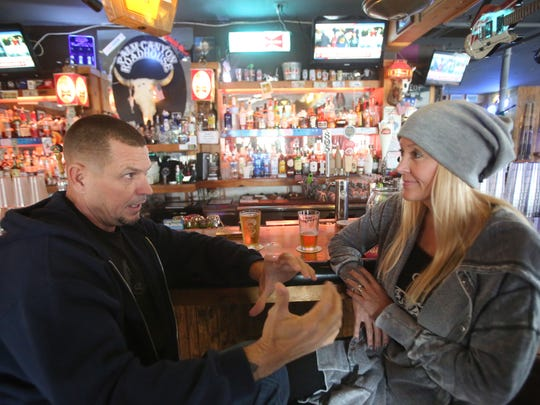 Jeff Gourley and Renee Gourley, both supporters of President Donald Trump, were happy watching the inauguration of the U.S. president. They enjoyed a drink Friday at the Palm Canyon Roadhouse.