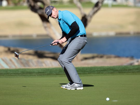 Brendan Steele reacts to a missed butt on 9 on the Stadium Course during the 3rd round of the CareerBuilder Challenge on Saturday, January 21, 2017.