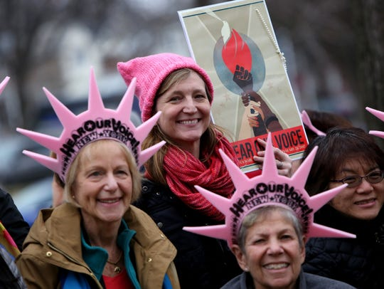 Marchers from Westchester County attend the Women's