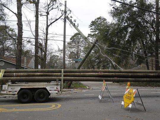On Monday morning new poles arrive on Fleischmann Road