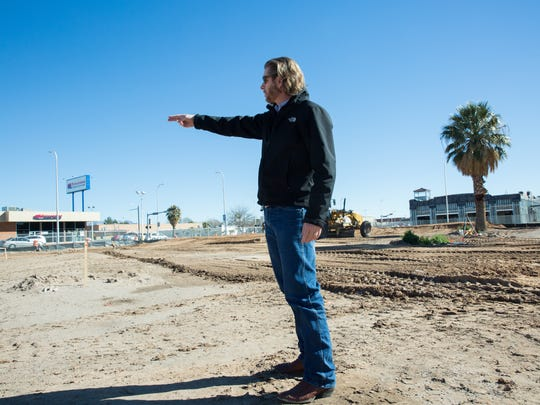 Max Bower, project manager of The Amador, describes where different restaurants will be in the forthcoming resturant/entertainment complex at the site of the former My Brother's Place. Thursday January 26, 2017.