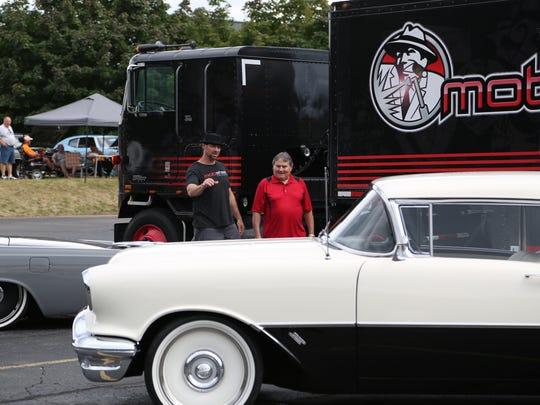 Adam Genei of  History's 'Detroit Wheels' shows off the customized 1956 Rocket 88