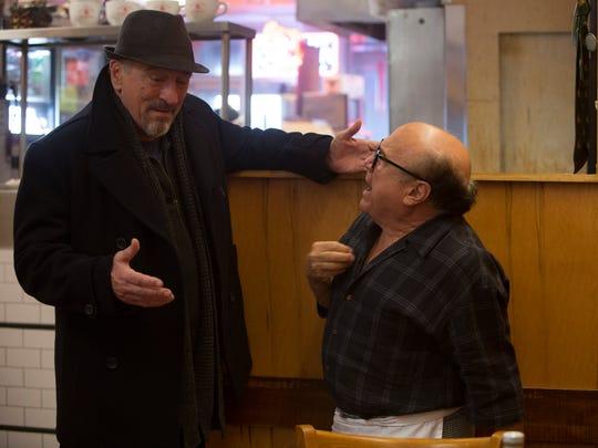 Robert De Niro (left) as Jackie Burke and Danny DeVito