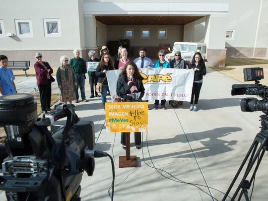 """NM CAFé Community Organizer Sara Melton opened a news conference in front of the Doña Ana County Sheriff's Office Friday, February 3, 2017. Faith leaders gathered to publicly call on Doña Ana County Sheriff Enrique """"Kiki"""" Vigil to break his silence with the local immigrant community."""