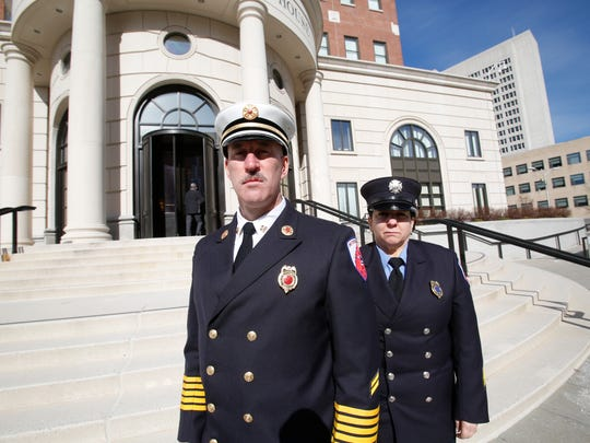 Patterson Fire ChiefMatthew Szpindor and Eleanora Smith, president of the Patterson Fire Department at the White Plains Federal Courthouse on Feb. 3, 2017, after the sentencing of Albert Melin, the former treasurer, who stoled $1.1 million from the department.