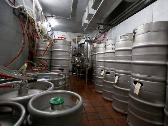 One of two refrigeration units that store kegs of various kinds of beer they serve at the Ypsi AleHouse in Ypsilanti, Michigan on Wednesday, January 18, 2017.