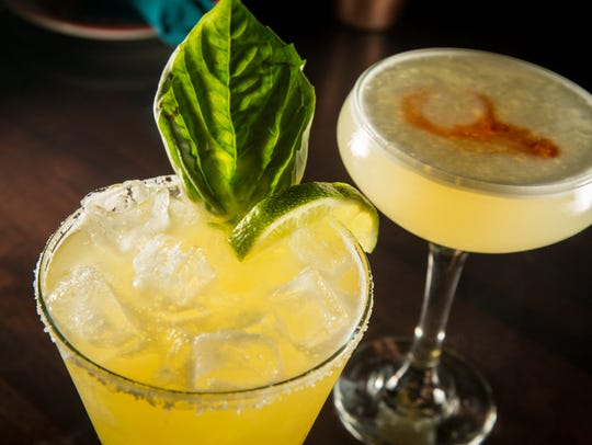 Pineapple basil margarita and Pisco Sour at Blu Toro,