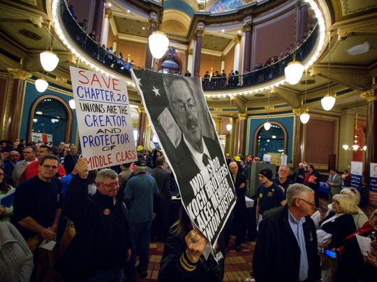 Union workers gather during a labor rally in the Capitol Rotunda on Tuesday, Feb. 7, 2017, in Des Moines, Iowa.